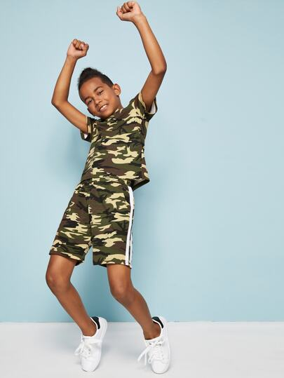 Boys Striped Tape Camo Print Tee and Shorts Set