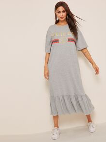 Letter and Striped Print Flippy Hem Dress