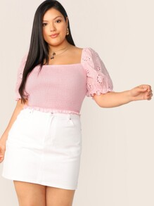 Plus Frill Trim Schiffy Puff Sleeve Shirred Blouse