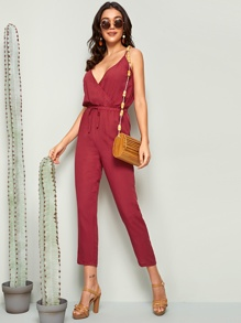 Surplice Neck Drawstring Waist Tank Jumpsuit