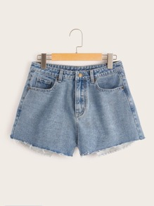 5-pocket Raw Hem Denim Shorts