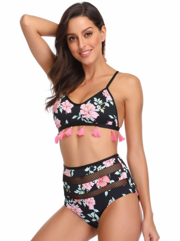 7bc5aa9ded Random Floral Fringe Trim Top With Fishnet Panel Bikini. AddThis Sharing  Buttons