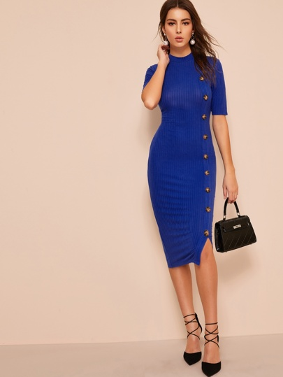 Mock-neck Buttoned Ribbed Bodycon Dress