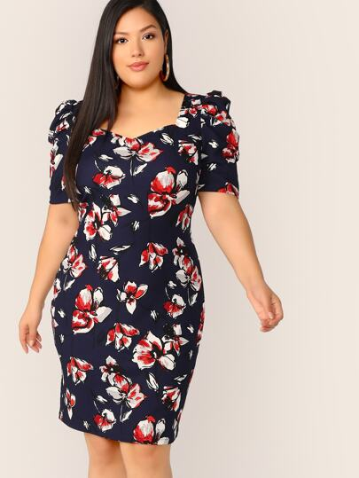 e4bf05d8db4dc Plus Floral Print Puff Sleeve Sweetheart Dress