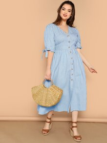 Plus Knotted Sleeve Button Up Striped Dress