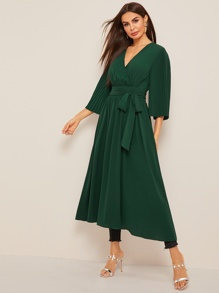 Surplice Neck Pleated Sleeve Belted Dress