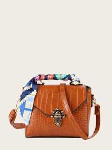 Croc Embossed Twilly Scarf Satchel Bag