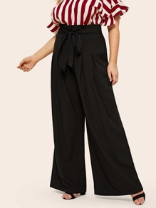 Plus High Waist Belted Maxi Wide Leg Pants