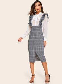 Split Hem Ruffle Strap Glen Plaid Skirt