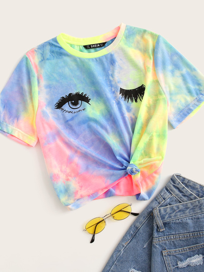 Tie Dye Eye and Eyelash Print Tee