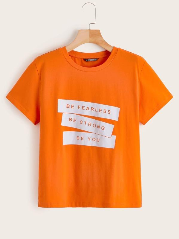 a334fc1a32 Neon Orange Slogan Print Tee -SHEIN(SHEINSIDE)