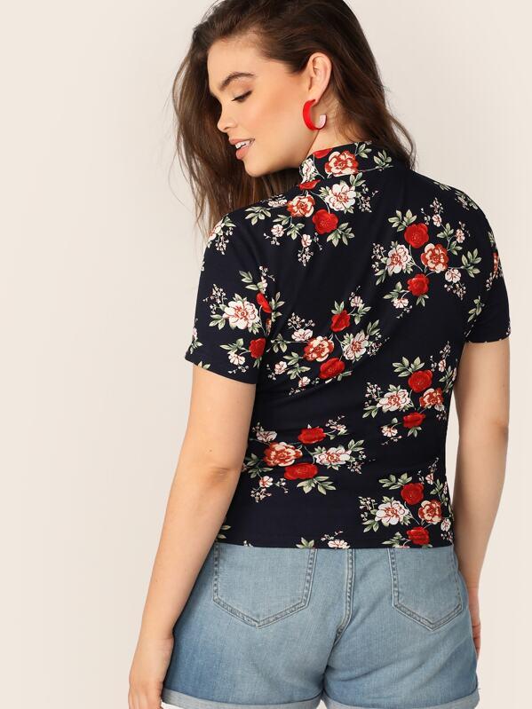 5beae9a02 Top con estampado floral de cuello alto-grande
