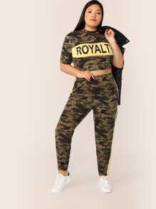 Plus Letter & Camo Top and Contrast Sideseam Leggings Set