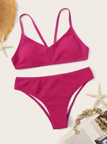 Textured Strappy Top With Panty Bikini Set