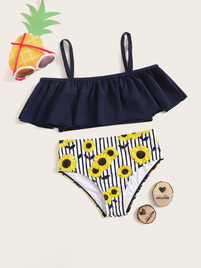 507d9e0f67 Girls Flounce Top With Random Floral & Striped Bikini