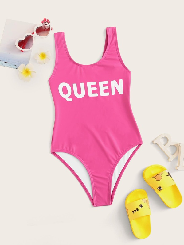 83f65f29bf Girls Letter Print Low Back One Piece Swim | SHEIN
