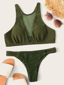 Fishnet Insert Top With Tanga Bikini set