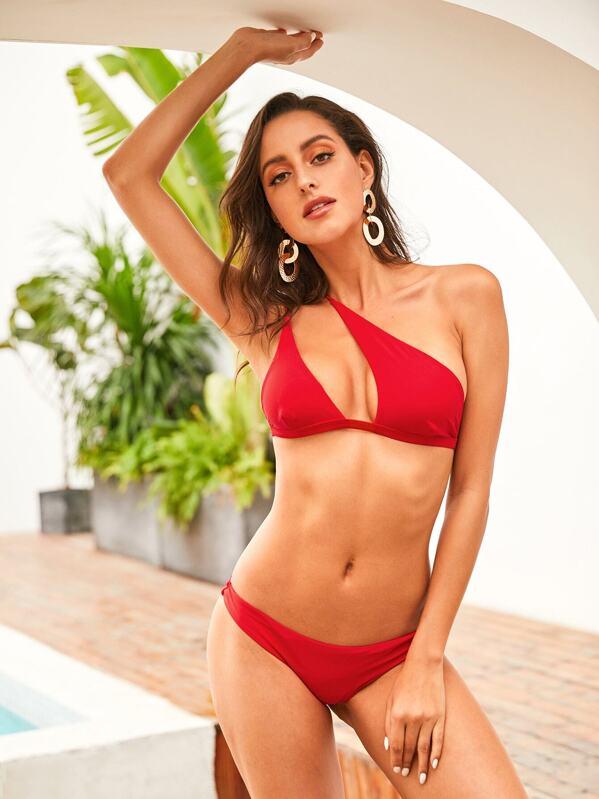 048cacb92f One Shoulder Top With Hipster Cheeky Bikini Set | SHEIN UK