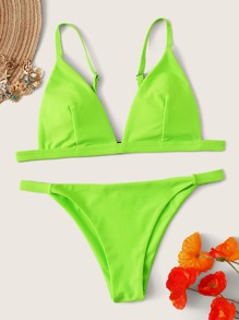 Neon Green Triangle Top With Tanga Bikini Set