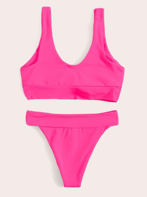 9bcf6d3633 Neon Pink Tie Front Top With Tanga Bikini Set   SHEIN UK