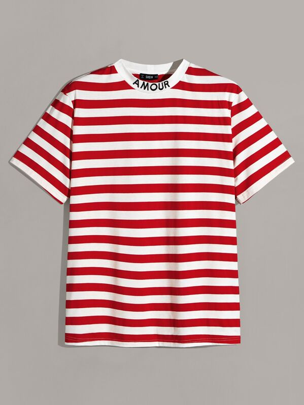 SheinMen Letter Embroidered Neck Striped Top by Sheinside