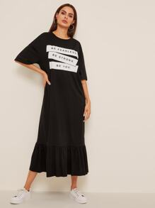 Slogan Print Flounce Hem Tee Dress