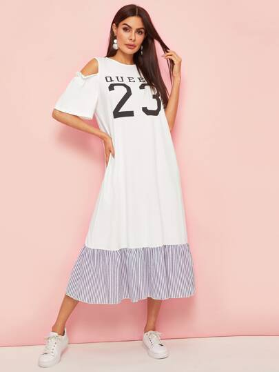 330a2415fdb7e فستان بحافة مكشكشة مخطط وبطباعة ارقام وعبارة مع أكتاف مكشوفة