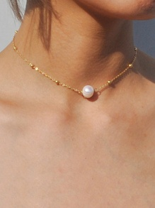Faux Pearl & Bead Detail Chain Necklace 1pc