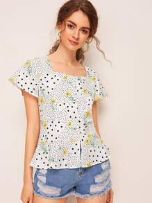 Floral Polka Dot Square Neck Blouse