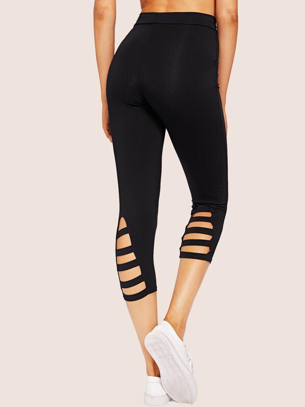 5c17d8ddd1d91 Solid Cut Out High Rise Leggings | SHEIN