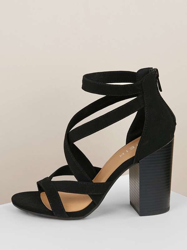 30661f34c7a Criss Cross Strappy Open Toe Chunky Heel BLACK