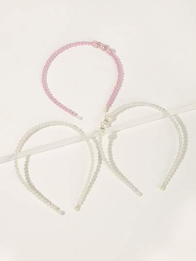 Girls Faux Pearl Headband 3pack