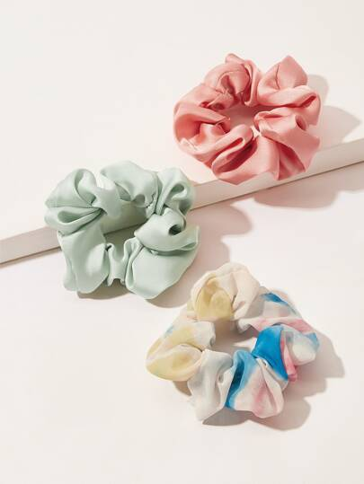 Tie Dye & Solid Scrunchies 3pack
