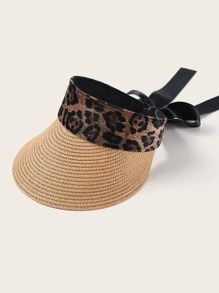Bow Detail Leopard Trim Visor
