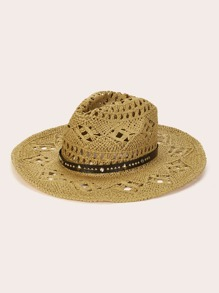 Spiked Decor Hollow Fedora