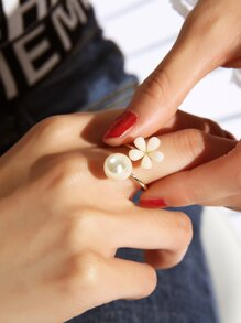 Faux Pearl & Flower Decor Ring 1pc