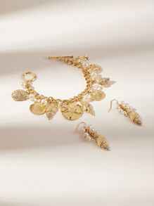 Shell & Pearl Charm Bracelet & Drop Earrings 3pcs