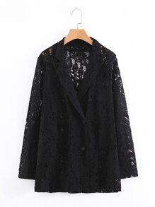 Double-breasted Lace Blazer