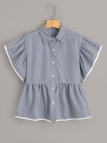 Gingham Print Button Front Peplum Shirt