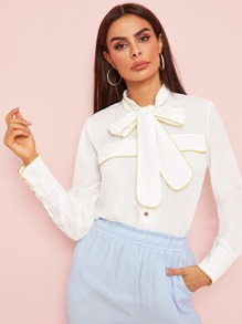 Piping Trim Tie Neck Button Front Blouse