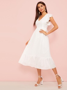 Eyelet Embroidered Ruffle Hem Midi Dress