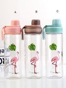 Flamingo Print Water Bottle 1pc
