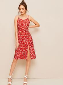 Ditsy Floral High Split Cami Dress