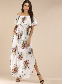 Floral Print Drawstring Waist Off Shoulder Dress