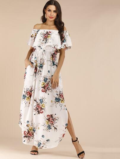 84836cb8424 Robe à épaules dénudées avec imprimé floral et cordon à la taille