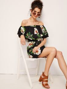 Floral Print Ruffle Trim Off Shoulder Belted Dress