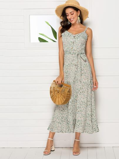3f4509c9dc7 Ditsy Floral Button   Tie Front Cami Dress