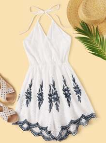 Surplice Tribal Eyelet Embroidery Shirred Halter Playsuit