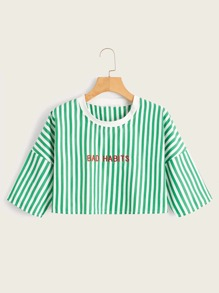 Striped Letter Embroidered Crop Tee