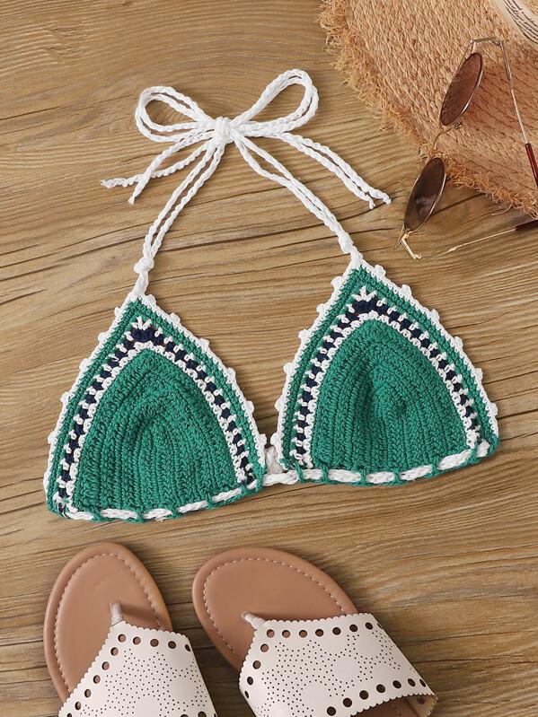 Whip Stitch Halter Crochet Bikini Top Shein